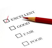 Check Mark for Excellent. Checklist of Options from Excellent to Poor Royalty Free Stock Photo