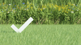 Check mark on grass field Royalty Free Stock Images