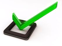 Check mark green. Green check mark in option box, on white background, slight glow on check mark model royalty free illustration