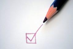 Check mark. Green check mark with color pencil stock image
