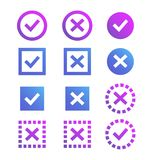 Check mark icon. Blue and purple marks and crosses. Stock Image