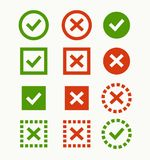 Check mark icon. Green and red marks and crosses. Royalty Free Stock Image