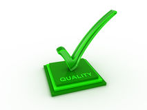 Check  mark icon in with QUALITY word. Transparent green check  mark inside with QUALITY word Royalty Free Stock Images