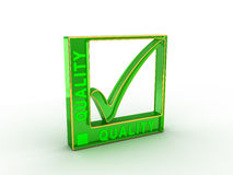 Check  mark icon in rectangle with QUALITY word Stock Image