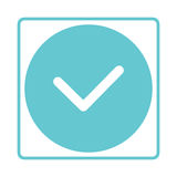 Check mark icon. Tick symbol in blue color. Yes, ok Stock Photography