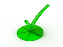 Check mark icon. Transparent green check mark on separated segments royalty free stock photo