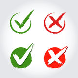 Check Mark Icons in Brush Stroke Style Stock Images