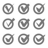 Check mark icons. Grey tick check marks in circles. Vector Royalty Free Stock Images