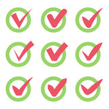 Check mark icons. Red tick check marks in green circles. Vector Stock Images