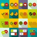 Check mark icons set, flat style Royalty Free Stock Photos
