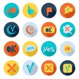 Check mark icons set, flat style Stock Photo