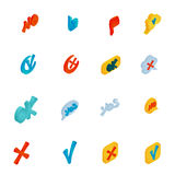 Check mark icons set, isometric 3d style Stock Images