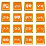 Check mark icons set orange Stock Photos