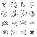 Check mark icons set, outline style Royalty Free Stock Photos