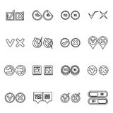Check mark icons set, outline style Stock Photos