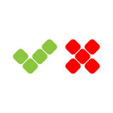 Check mark icons of squares. Green tick and red cross. Flat vector illustration isolated on white background Stock Photography