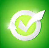Check mark illustration design over a green Stock Photos