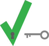 Check mark keyhole and key. Green check mark keyhole vector and grey key Stock Photo