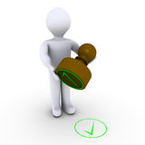 Check mark made with stamp. 3d person holding stamp in front of check mark Stock Image