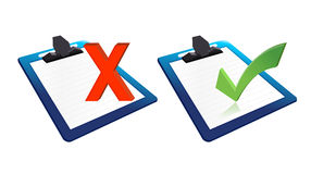 Check mark and x mark clipboards illustration. Design over white Royalty Free Stock Image