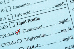 Check mark on Medical check list Cholesterol. Royalty Free Stock Photo