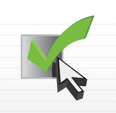 Check mark online selection and cursor Stock Photo