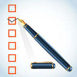 Check mark and pen Stock Photography