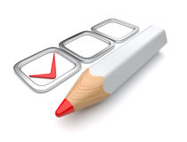 Check mark and pen 3D. Test.  on white Stock Photo