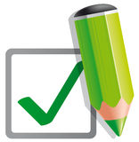 Check mark and pencil. Vector illustration Check mark and pencil Stock Photography