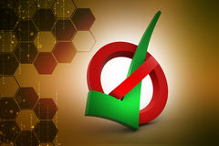 Check mark in prohibition sign Royalty Free Stock Photos