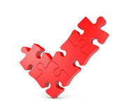 Check mark from puzzles. Sign and symbol. Separated on white Royalty Free Stock Photography