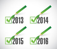 2014 2015 2016 check mark selections. Illustration design over white Royalty Free Stock Photos