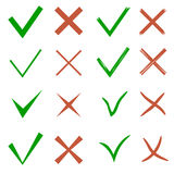 Check mark set. Yes and no symbols. Vector illustration Royalty Free Stock Images