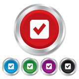 Check mark sign icon. Checkbox button. Stock Images