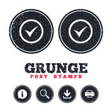 Check mark sign icon. Yes circle symbol. Grunge post stamps. Check mark sign icon. Yes circle symbol. Confirm approved. Information, download and printer signs Stock Photos