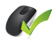 Check mark sign and Wireless computer mouse vector illustration