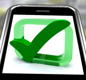 Check Mark On Smartphone Showing Approval Royalty Free Stock Photos