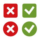 Check Mark Stickers and Buttons. Red Green. Vector. Royalty Free Stock Photo