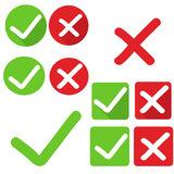 Check mark stickers yes no. Vector Royalty Free Stock Images
