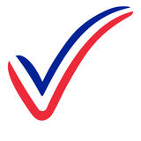 Check mark  style  France flag symbol elections, voting and approval. Check mark style France flag symbol elections, voting and approval, vector concept check Stock Photo