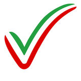 Check mark style Iran flag symbol elections, voting and approval royalty free illustration