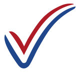 Check mark style Netherlands flag symbol elections, voting and approval stock illustration