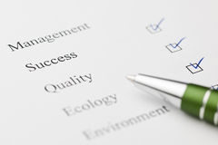 Check mark for success with pen Royalty Free Stock Image