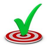 Check mark and target. Green check mark and target Stock Image