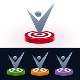 Check mark on target board. 3d shiny icons. Vector illustration. Stock Photo