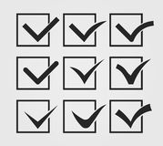 Check mark vector illustration. Set of tick check mark, yes symbols, voting, agreement, true.Tasks boxes on a list. Vector illustration, you can easily change Stock Photos