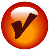 Check mark web icon or button. Red check mark web icon or button - vector Royalty Free Stock Images