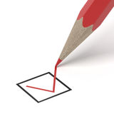Check mark writing a red choice Royalty Free Stock Image