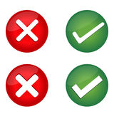 Check Mark, Wrong Mark Icons. Illustration icons Royalty Free Stock Photography