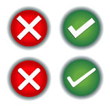 Check Mark, Wrong Mark Icons. Illustration icons Royalty Free Stock Images